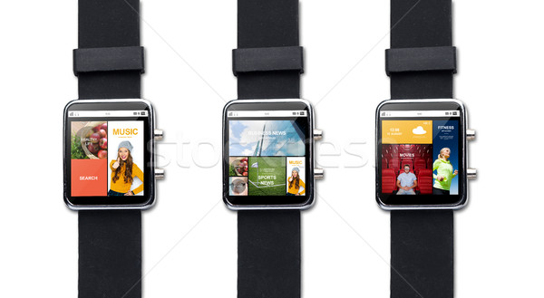close up of smart watch with internet applications Stock photo © dolgachov