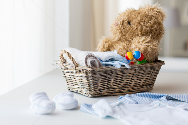 close up of baby clothes and toys for newborn Stock photo © dolgachov
