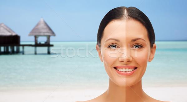 Közelkép gyönyörű nő fél arc lebarnult emberek Stock fotó © dolgachov