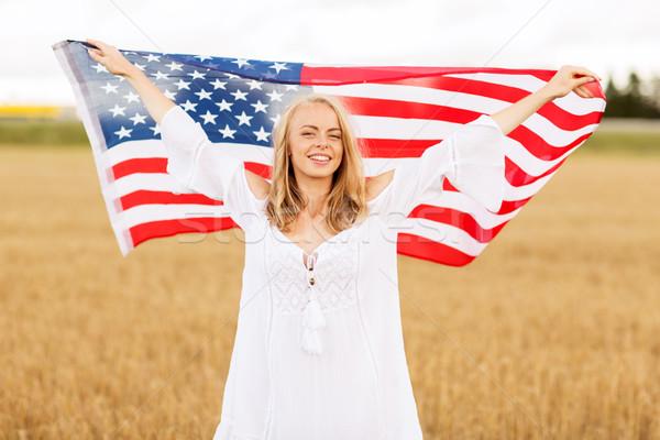 счастливым женщину американский флаг зерновых области стране Сток-фото © dolgachov
