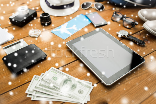 tablet pc and traveler personal stuff Stock photo © dolgachov