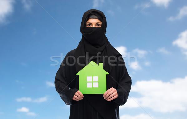 мусульманских женщину хиджабе теплица белый экология Сток-фото © dolgachov