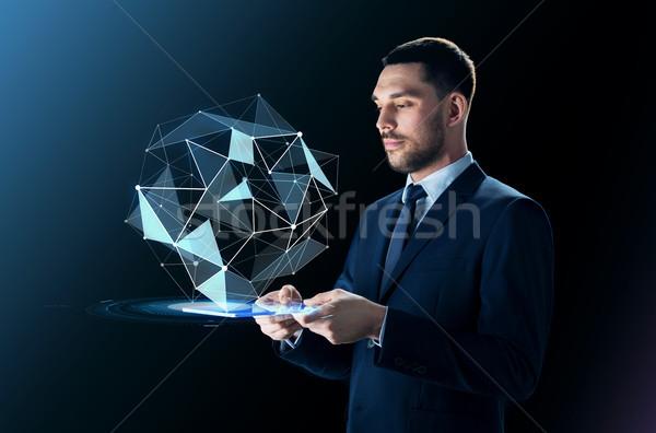 Biznesmen garnitur przezroczysty business network ludzi Zdjęcia stock © dolgachov