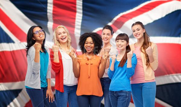 Stock fotó: Nemzetközi · boldog · nők · brit · zászló · diverzitás · nemzetiség