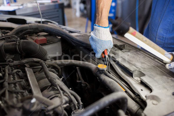 mechanic man with pliers repairing car at workshop Stock photo © dolgachov