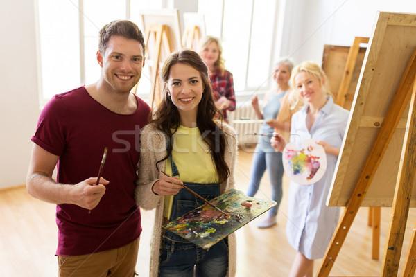 Pintura arte escolas criatividade educação pessoas Foto stock © dolgachov