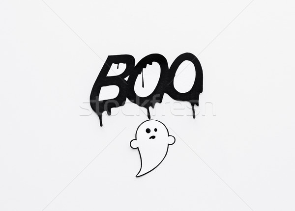 ghost doodle and word boo on white background Stock photo © dolgachov