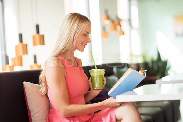 Stock fotó: Nő · ital · olvas · könyv · kávézó · emberek