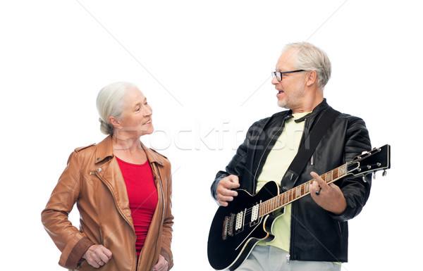 счастливым электрической гитаре музыку возраст люди Сток-фото © dolgachov