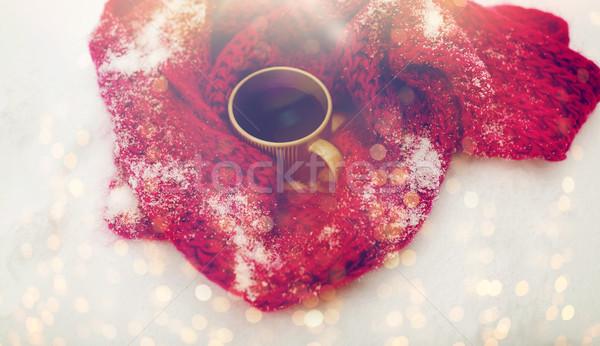 Tea kávésbögre tél sál hó évszak Stock fotó © dolgachov