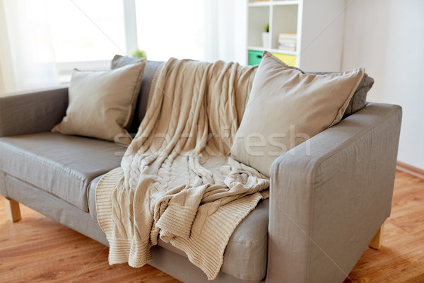 Stock fotó: Kanapé · párnák · kényelmes · otthon · nappali · kényelem