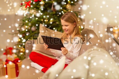 happy young woman reading book in bed at home Stock photo © dolgachov