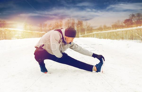 Man been winter brug Stockfoto © dolgachov