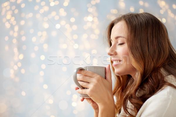 Foto d'archivio: Felice · donna · Cup · tè · caffè · home