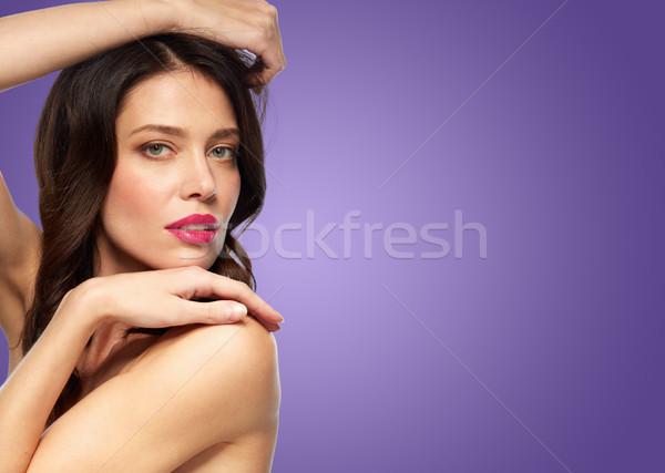 美しい 若い女性 バイオレット 美 を構成する 人 ストックフォト © dolgachov