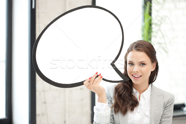 smiling businesswoman with blank text bubble Stock photo © dolgachov