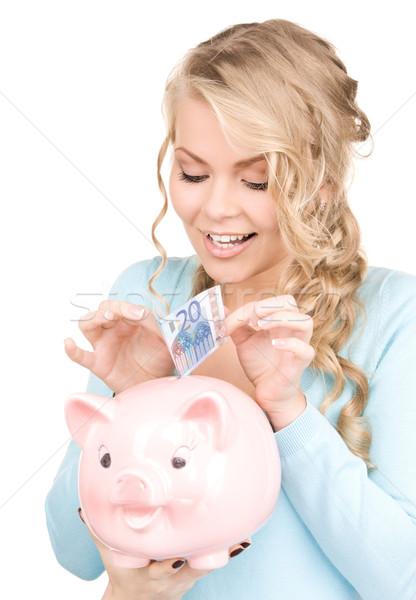 ストックフォト: 女性 · 貯金 · お金 · 画像 · 紙 · 青