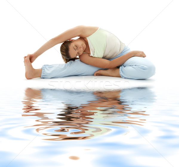 Stock photo: ashtanga yoga on white sand