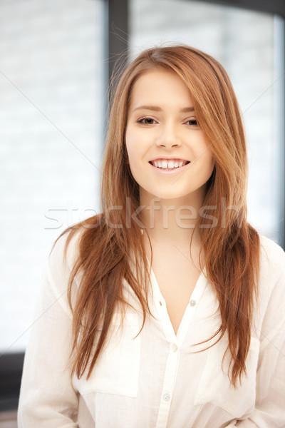 Foto stock: Feliz · sorrindo · brilhante · quadro · mulher · beleza