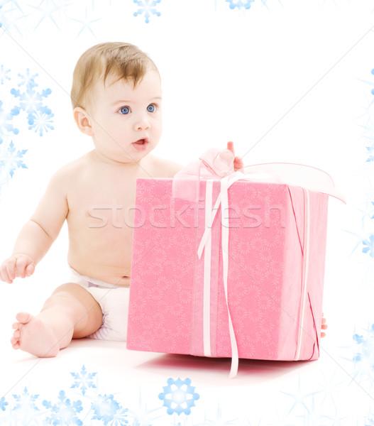 baby boy in diaper with big gift box Stock photo © dolgachov