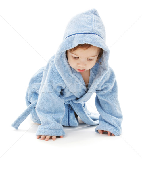 Bebê menino azul robe branco criança Foto stock © dolgachov