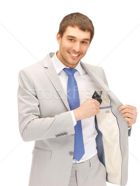 Сток-фото: бизнесмен · кредитных · карт · ярко · фотография · счастливым · бизнеса