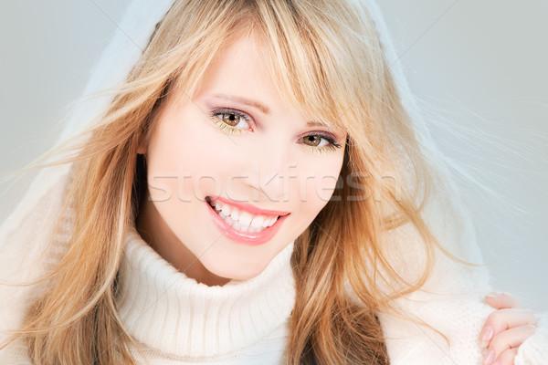 happy teenage girl in hoodie Stock photo © dolgachov