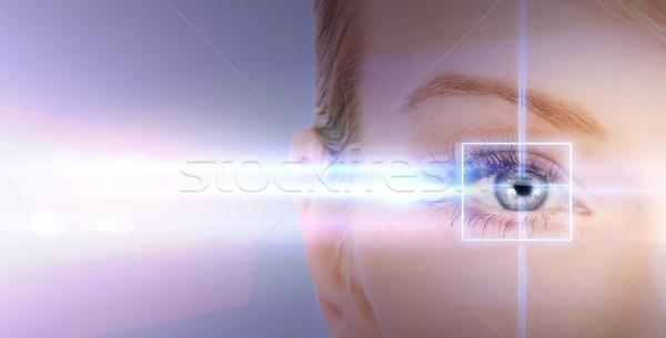 Kobieta oka laserowe korekta ramki zdrowia Zdjęcia stock © dolgachov