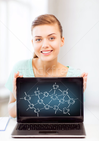 girl holding laptop with network contacts Stock photo © dolgachov
