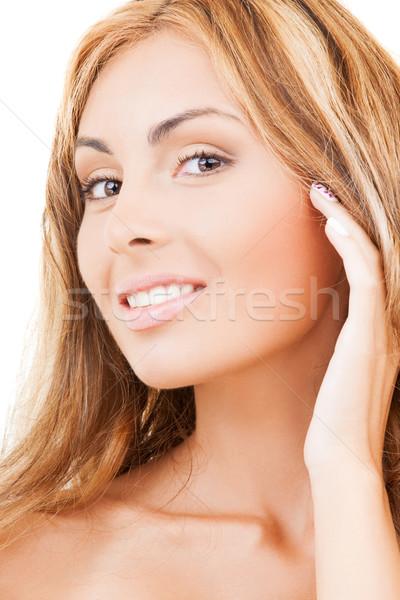 顔 手 幸せ 女性 長髪 健康 ストックフォト © dolgachov