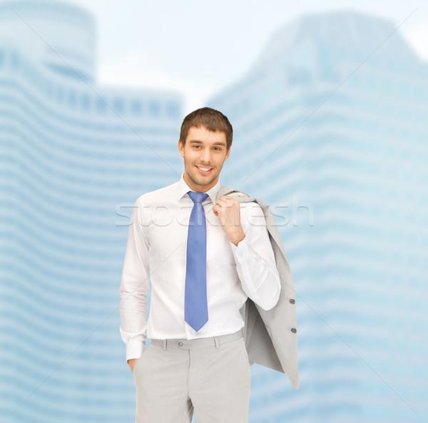 Gut aussehend Geschäftsmann Anzug Gebäude Entwicklung Bau Stock foto © dolgachov