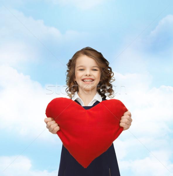 Güzel kız büyük kalp yaşamak çocuklar mutluluk Stok fotoğraf © dolgachov