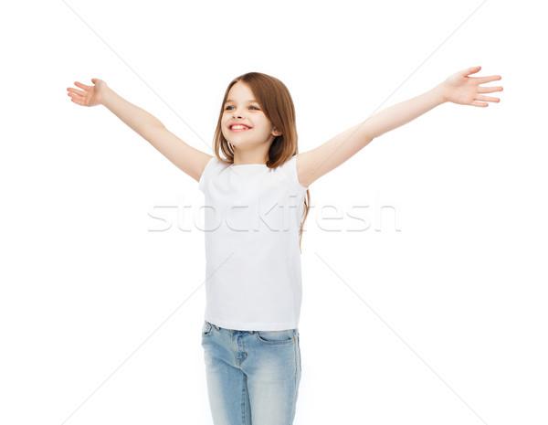 Sorridente as mãos levantadas tshirt projeto felicidade Foto stock © dolgachov