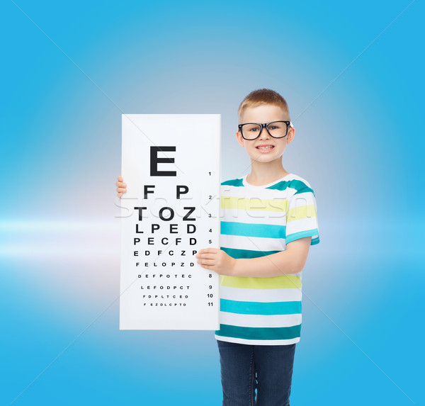 smiling boy in eyeglasses with white blank board Stock photo © dolgachov