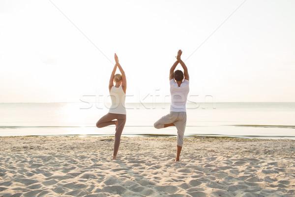 couple making yoga exercises outdoors from back Stock photo © dolgachov