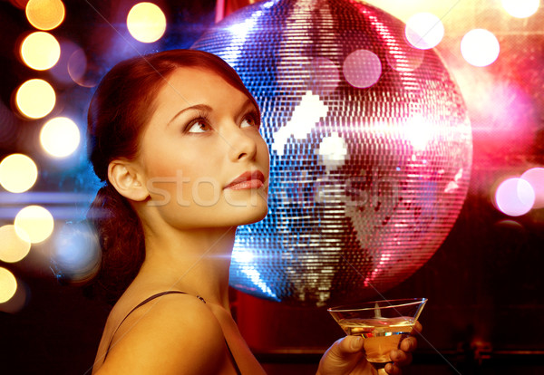 Vrouw cocktail disco ball luxe vip nachtleven Stockfoto © dolgachov
