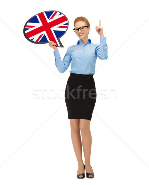 улыбающаяся женщина текста пузыря британский флаг образование иностранный Сток-фото © dolgachov