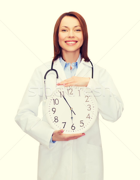 smiling female doctor with wall clock Stock photo © dolgachov