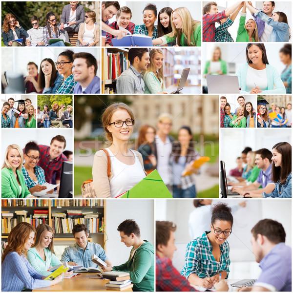 Collage muchos fotos universidad estudiantes educación Foto stock © dolgachov