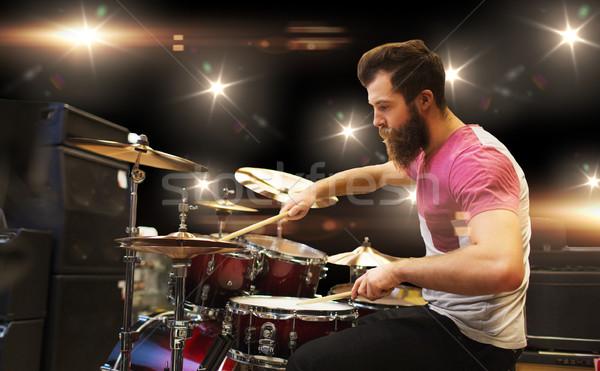 Erkek müzisyen oynama müzik konser insanlar Stok fotoğraf © dolgachov