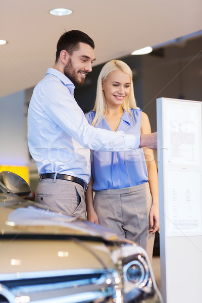 happy couple buying car in auto show or salon Stock photo © dolgachov