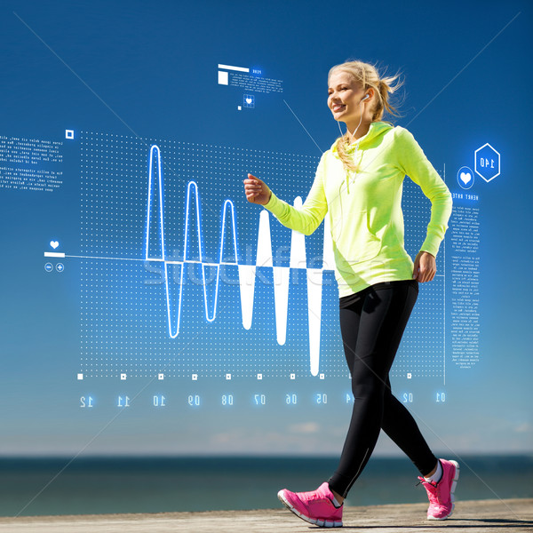 smiling woman doing sports outdoors with earphones Stock photo © dolgachov
