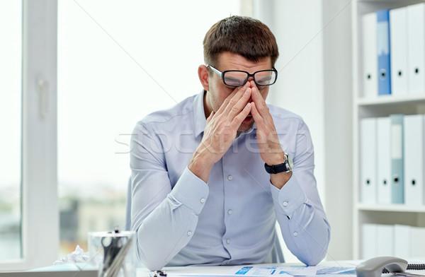 Moe zakenman bril kantoor zakenlieden werk Stockfoto © dolgachov