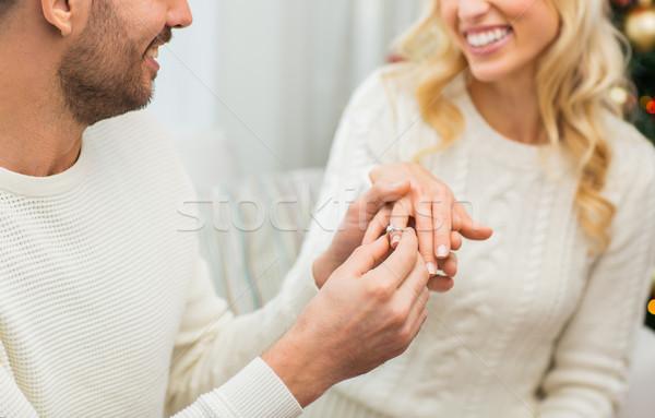 Férfi gyémántgyűrű nő karácsony szeretet pár Stock fotó © dolgachov