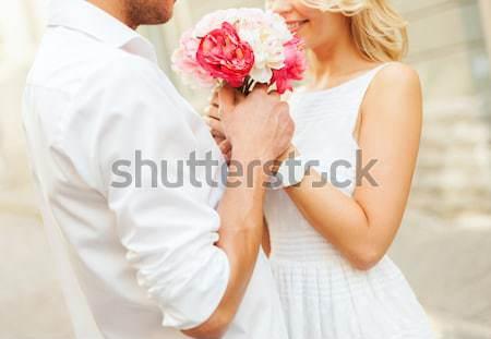 Közelkép boldog leszbikus pár virágok emberek Stock fotó © dolgachov