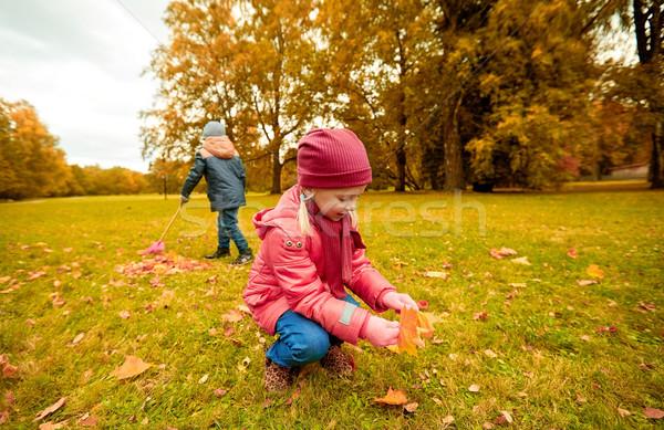 Photo stock: Enfants · laisse · automne · parc · enfance