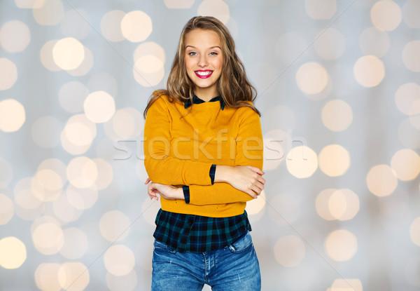 Boldog fiatal nő tinilány lezser ruházat emberek Stock fotó © dolgachov