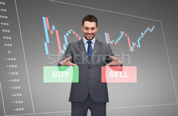businessman or stock broker over forex chart Stock photo © dolgachov