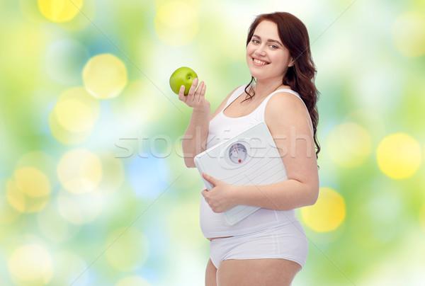 Stock foto: Glücklich · jungen · Übergröße · Frau · halten · Skalen