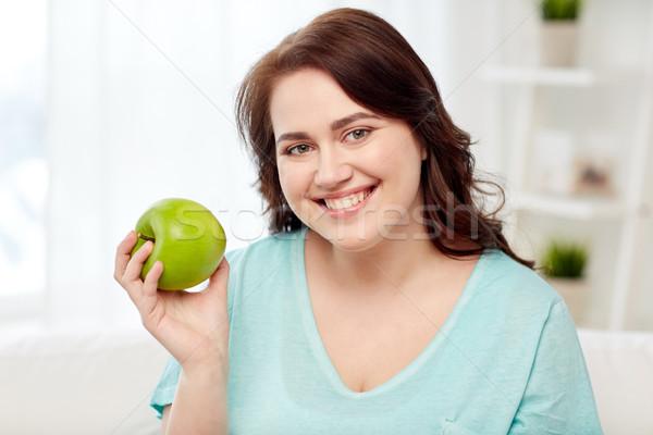幸せ プラスサイズ 女性 食べ 緑 リンゴ ストックフォト © dolgachov